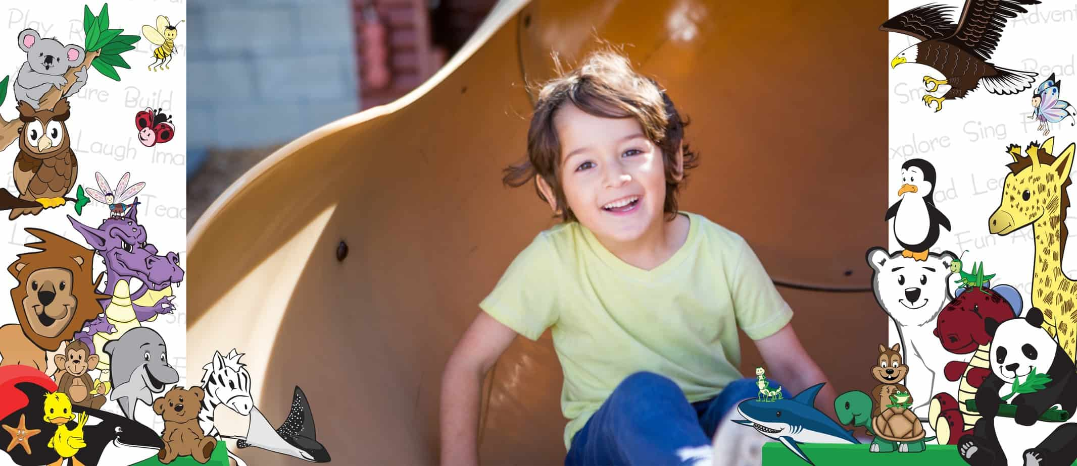 happy boy on slide at Kids Klub Child Development Centers